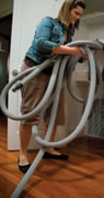 No more carrying, coiling and storing a bulky hose again