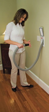 You'll never have to carry or store a bulky ducted vacuum hose again. Simply pull out the amount of hose you need from the inlet valve, connect your cleaning wand (with attachment) and begin vacuuming.