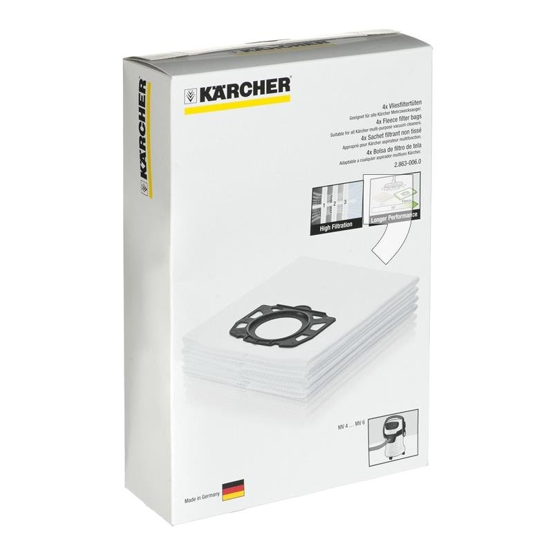 KARCHER WD6, MV6 Wet & Dry Vacuum Cleaner Fleece Filter Bags - Genuine 4pk