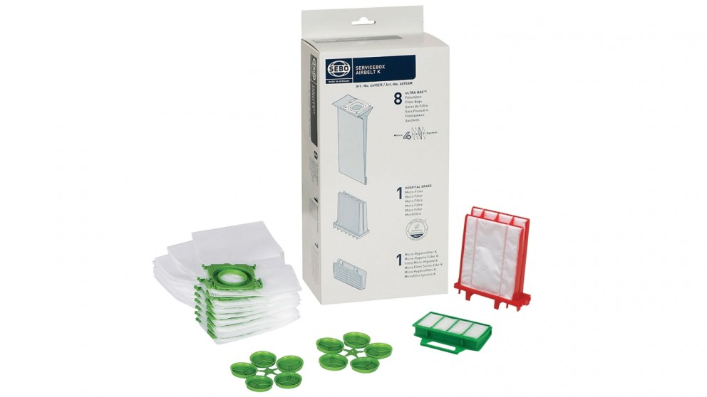 SEBO K Series Service Kit - 8 Bags + 1 Hospital Grade Micro Filter + 1 Exhaust Filter